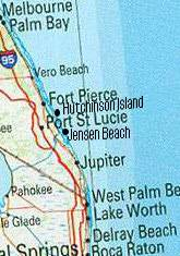 Area map of cities near Jensen Beach