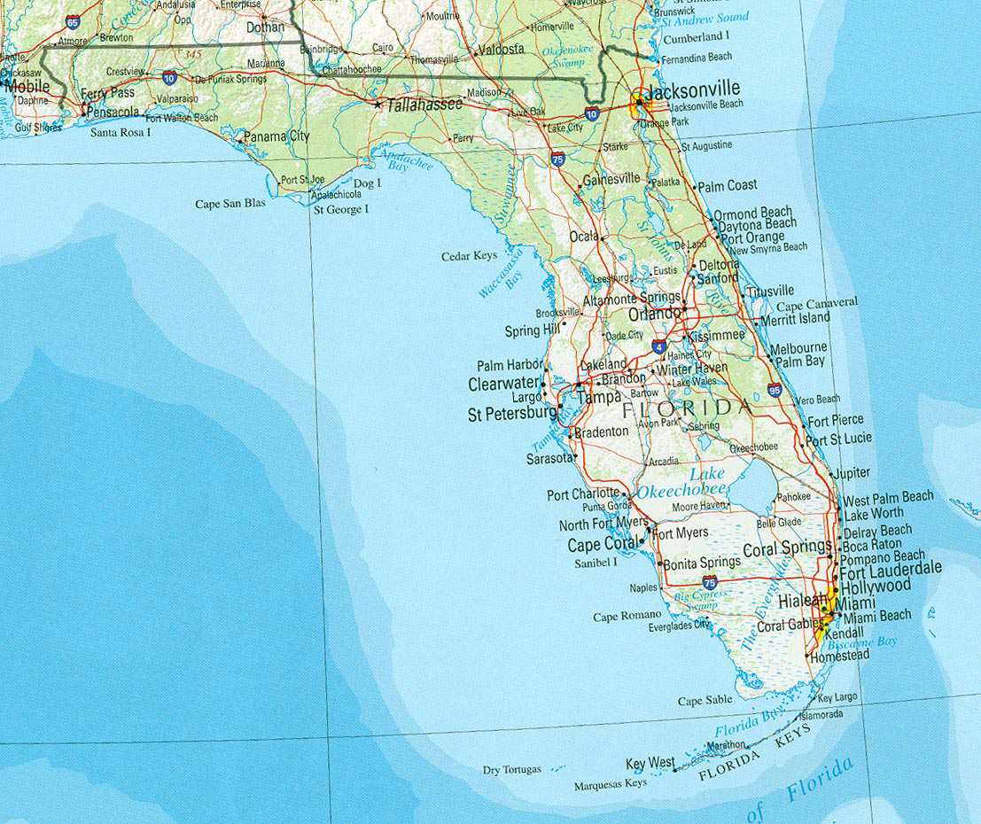 Florida Day Trips & Scenic Drives With Highway Maps |Florida Map Mileage